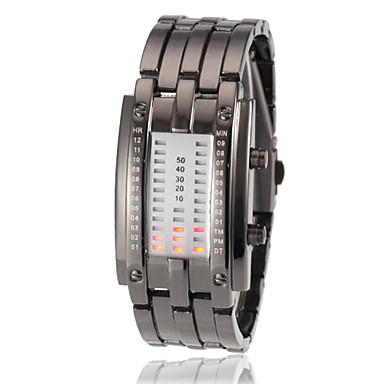 Frauen-stellige Anzeige rote LED Digital Steel Band Armbanduhr (verschiedene Lichtfarben)