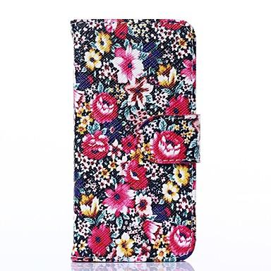 Schöne Blüten-Muster PU-Leder Ganzkörper-Fall mit Ständer für iPhone 5 / 5S