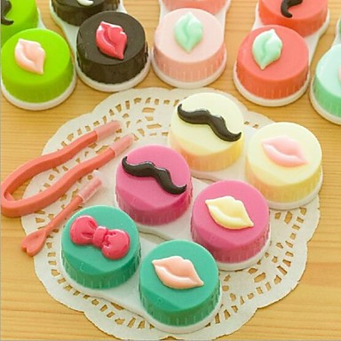 Whiskers And Mouth Shaped Plastic Contact Lens Box(Random Color x1Pcs)