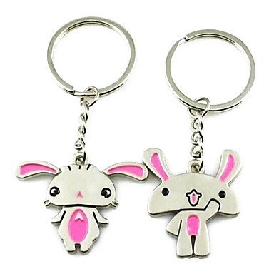 (A pair)Cute Cartoon Men and Women Interesting High-grade Stainless Steel Keychain Symbol of Love