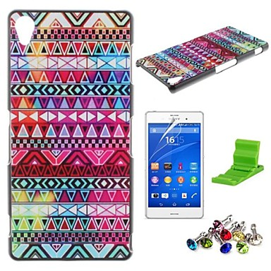 Tribal Symbols Pattern PC Hard Case with Screen Protector,Dust Plug and Stand for Sony Z3 L55T