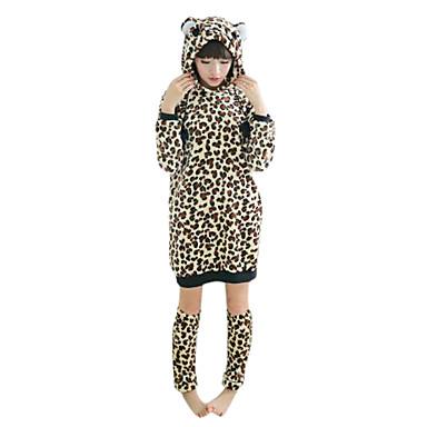 Fierce African Leopard Flannel Women's Kigurumi Pajamas with Leg Warmer(For Height 150-170cm)