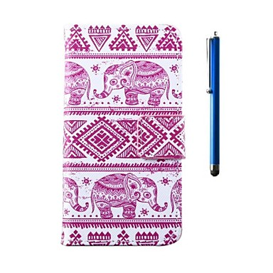 4.5 Inch Elephant Pattern PU Wallet Leather Case and Pen with Stand for Motorola Moto G