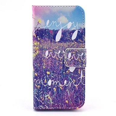 Enjoy Every Moment Pattern PU Leather Cover with Stand and Card Slot for iPhone 6