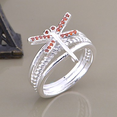Silver Plated Crystal Dragonfly Ring Statement Rings Wedding/Party/Daily/Casual/Sports 1pc ...