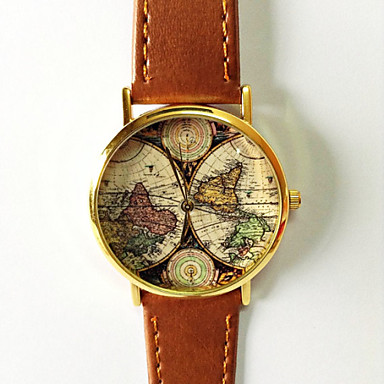 Map Watch Vintage Style Leather Fashion Women Watches Boyfriend World Men's Silver Gold Case Cool Unique