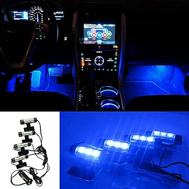 ziqiao 3led voiture charg e 12v 4w briller int rieur atmosph re 4in1 d coratif lumi re bleue. Black Bedroom Furniture Sets. Home Design Ideas