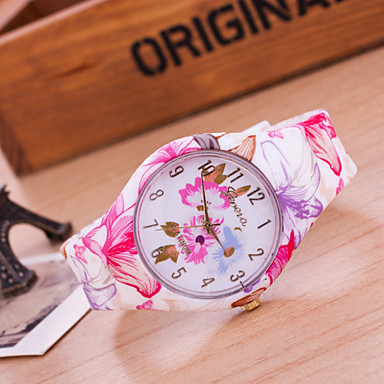 Women's European Style Fashion Flower Silicone Watch Cool Watches Unique