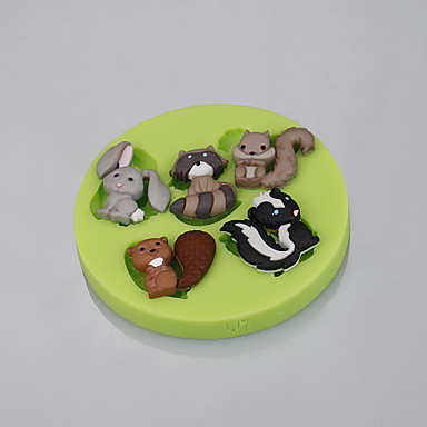 Cake Decorating Animal Molds : Lovely Mini Animal Rabbit Squirrel Silicone Fondant Mold ...