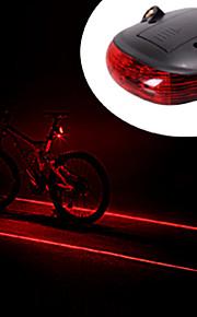 Rear Bike Light Waterproof 2 Straight Lines Red Laser + 3-Mode 3-LED Bike Tail Warning Safety Light (2xAAA)