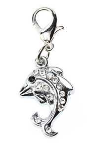 Dog tags Rhinestone Decorated Dolphin Style Collar Charm for Dogs Cats