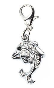 Katzen / Hunde Schilder Strass / Fische Silber Metall
