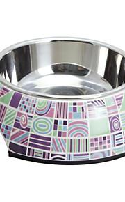 Elegante padrão de verificação melamina Shell Pet aço inoxidável bacia do alimento para Cães Gatos (S-XL)