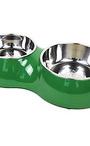 double bowl estilo melamina shell animal de estimação do aço inoxidável tigela de comida para cães gatos (cores sortidas, ml)