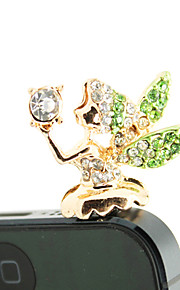 Gold Plated Alloy Zircon Angel Pattern Anti-støv Plug (tilfeldige farger)
