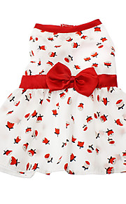 Cat / Dog Dress White Spring/Fall Floral / Botanical / Bowknot Fashion