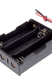 """Plastic Batterij Storage Box Case houder voor 3x18650 Zwart met 6 """"Wire Leads"""