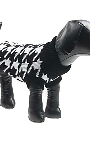 Dog Sweater Black Winter Houndstooth