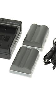 ismartdigi 1650mAh Camera batterij (2 stuks) + Car Charger voor NIKON D700 D90 D80 D200 D300 FNP-150