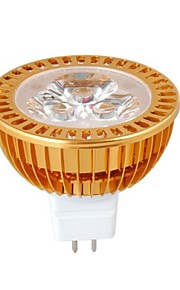 MR16 3W dimmes 1W × 3LEDs 270-300LM 3000-3500K varm hvit LED Spot Bulb (DC12V)