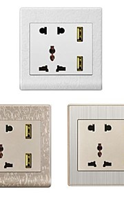 EU + VS + UK + Dual-USB AC Power Socket Panel