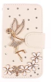 rhinestone handgjorda bling ängel och blomma designen läderfodral för iPhone 4/4S