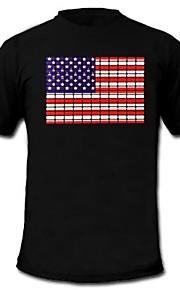 herre lyser førte t-shirt amerikanske flag mønster lyd og musik aktiveret equalizer til fest bar raver