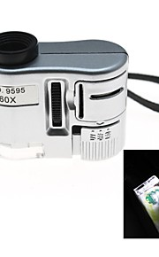 mini-60x microscópio ampliação com lanterna LED e luz de detecção de moeda (3 x LR43)