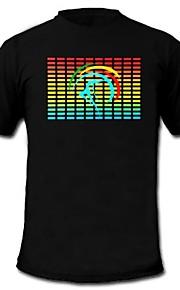herre lyser T-shirt lyd og musik aktiveret equalizer førte el velcro panel maskinvaskes fest bar raver festival