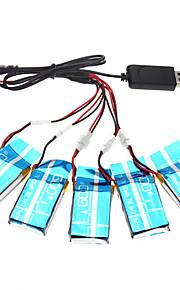 SYMA x5-16 x5c 5pcs 3.7v 600mAh opgradering batteri sæt med ladekabel