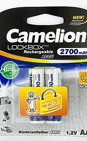 camelion lockbox 2700mAh lage zelfontlading Ni-MH AA oplaadbare batterij (2 stuks)