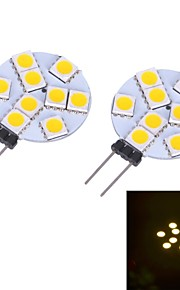 JMT g4 0.6W 9x5050smd varm / kjølig hvitt lys ledet bi-pin lampe (ac / dc 12v) 2 stk
