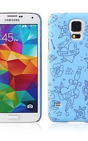 grande modello di cuore blu caso duro gommato caso di disegno per Samsung Galaxy s5