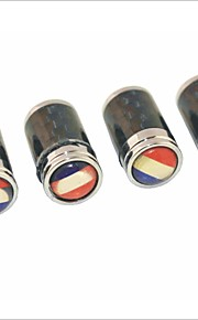 DIY Carbon Fiber French Flag Pattern Universal Tire Air Valve Caps--Black(4PCS)