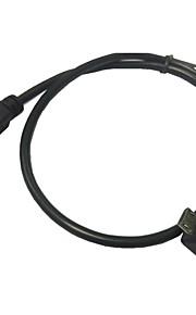 0.5m 1.5ft micro USB 2.0 typen 5pin mandlige ret 90 vinkel til kvindelige kabel til tablet&telefon&OTG udvidelse
