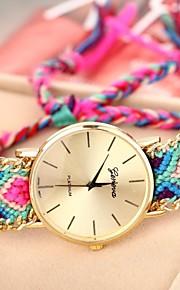 cadeia caso de ouro da banda pulseira de tecido de quartzo analógico relógio das mulheres (cores sortidas)