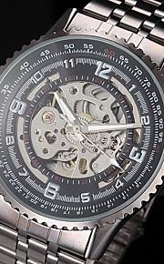 moda auto-mecânico com ligação oco de aço preto relógio pulseira dos homens