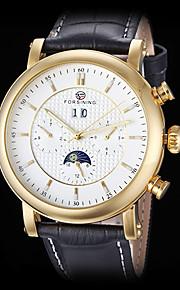 auto-mecânico seis ponteiros do relógio banda caso de ouro de couro de pulso dos homens forsining (cores sortidas)