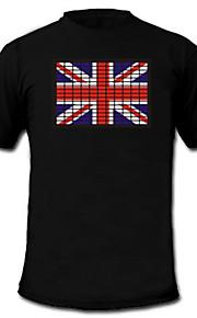 LED-T-shirts Lydaktiverede LED-lys Tekstil S M L XL XXL Nationalflag Sort 2 AAA Batterier