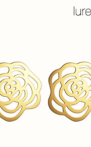 lureme®hollow blomstermønster legering øreringe (assorterede farver)