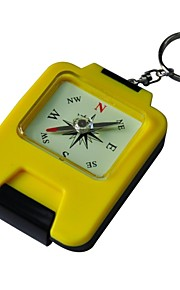 Camping Hiking Folding Compass Mirror Storage Box and Keyring Yellow Color