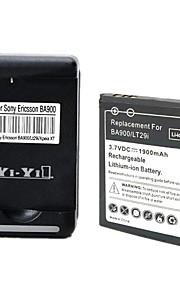 yi-yi batería 1900mAh 3.7v ™ con usb nos clavija del cargador de batería para xperia tx / LT29i / xperia l / s36h / BA900