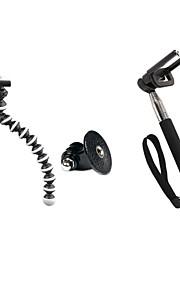 selvudløser sæt (lille stativ, GoPro adapter, sort self-polet, mobiltelefon klip)