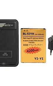 minismile ™ decodificado batería 4200mAh reemplazo con cargador de batería especial y enchufe de la UE para lg g3 / bl-53yh / d855