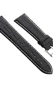 24 milímetros pu relógio de couro cinta liga faixa preta durável fivela costura branca
