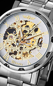 automático relógio pulseira de aço oco com ligação mecânica dos homens (cores sortidas)