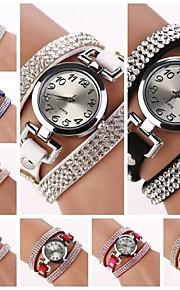 relógio de diamante mostrador redondo banda circuito de quartzo das mulheres (cores sortidas) c&D184