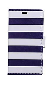 azul blanco tarjeta de patrones de rayas billetera de cuero de la PU caso de cuerpo completo para el deseo htc 826
