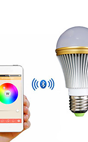 e27 5W fargerike lys bluetooth smart LED lampe pære for ios / android - hvit + sølv (ac 85 ~ 240v)