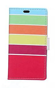 arco iris tarjeta de patrones de rayas billetera de cuero de la PU caso de cuerpo completo para el deseo htc 826